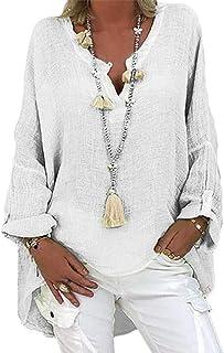 Subfamily Damen Beiläufig Oversize Leinenbluse, Elegant Blume Druck Shirt, Bluse Leinen,V-Ausschnitt Longshirt,V-Ausschnitt Casual Oberteil,Basic Tunika Tops, Langarm Blusen, Hemd Tops