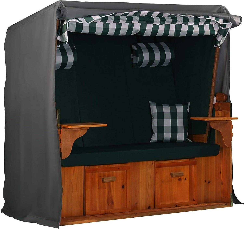 Hentex Cover Strandkorb Abdeckung Winterfest und Wasserdicht, Sonnencreme, UV- Bestndig Strandkorb Premium Strandkorbhülle anthrazit L 150cm