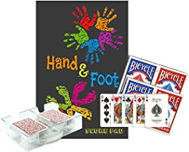 Jordause Distributors Hand and Foot Game Night Bundle Gift Box Set: Score Pad Notebook with Scoring Reference, 4 Card Decks, 2 Deck Revolving Discard Tray