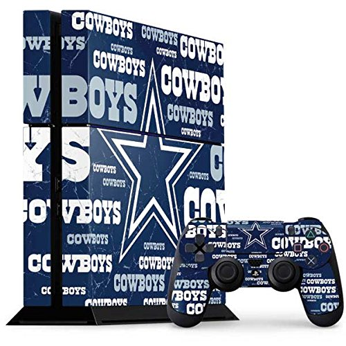Skinit Decal Gaming Skin Compatible with PS4 Console and Controller Bundle - Officially Licensed NFL Dallas Cowboys Blast Design
