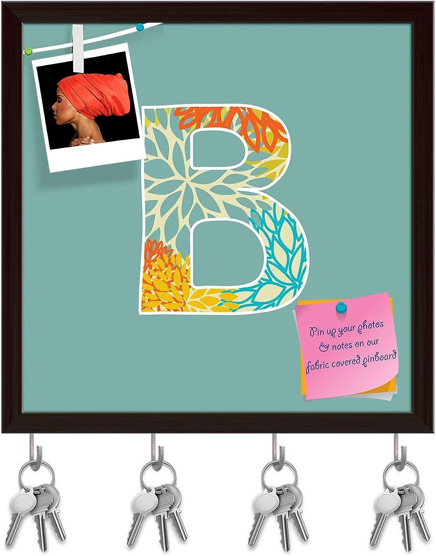 Artzfolio Floral Letter B Key Holder Hooks   Notice Pin Board   Dark Brown Frame 20 X 20Inch