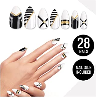 Tip Beauty Black Gold Fake Nail Kit, X Marks the Spot, Faux Nails for Women, Fake Nails, Glue on Nails, Instant Nails for Ladies, False Nails with Glue - MSRP $18