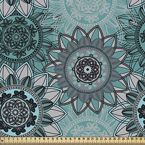 ABAKUHAUS Mandala Gewebe als Meterware, Hippie Orientalischer Frühling, Schön Gewebten Stoff für Polster und Wohnaccessoires, 1M (148x100cm), Türkis Schwarz Taupe