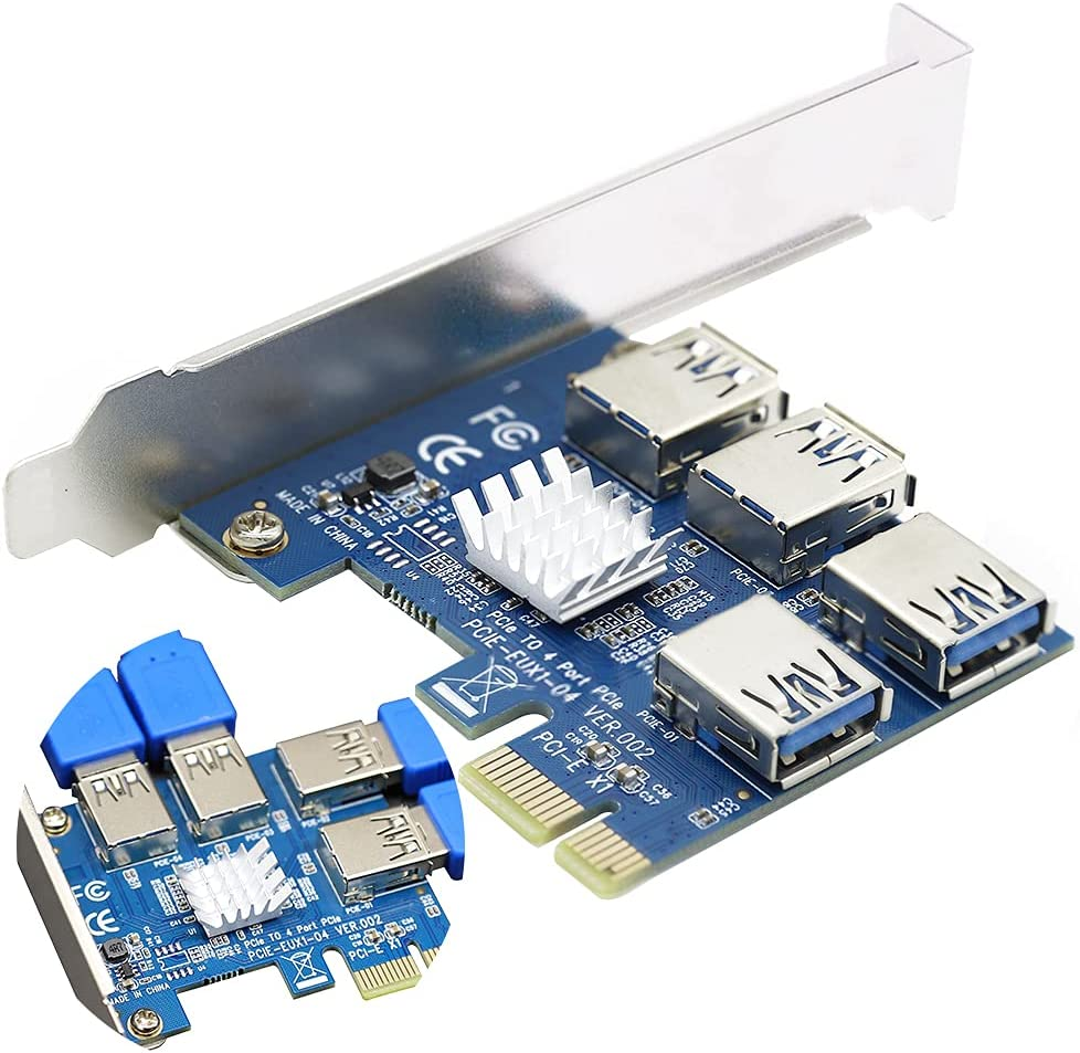 PCIe 1 to 4 Riser Card, Pcie Splitter 1 to 4 PCI Riser Card, 4 Risers into 1 PCI Card, PCIe Risers 1X to External 4 PCI-e USB 3.0 Adapter Multiplier for Bitcoin Miner Device