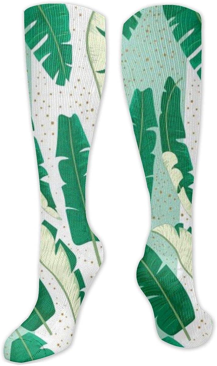 Dots Banana Leaves Pattern Knee High Socks Leg Warmer Dresses Long Boot Stockings For Womens Cosplay Daily Wear