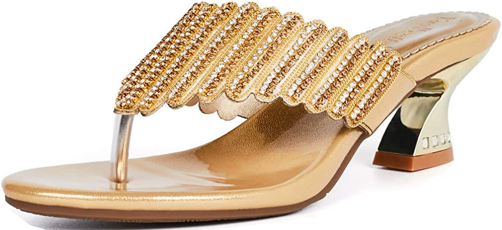 YooPrettyz Women T-Strap Slide Sandals Summer Beach Glitter Thong Sandal Chunky Heels