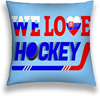 YILINGER Decorative Cotton Velvet Vintage Home Throw Pillow Case Cushion Cover 18X18 Slovakia ice Hockey Slovak Winter Sport Love Poster Heart Symbol Tradition Colors Cloth Colored