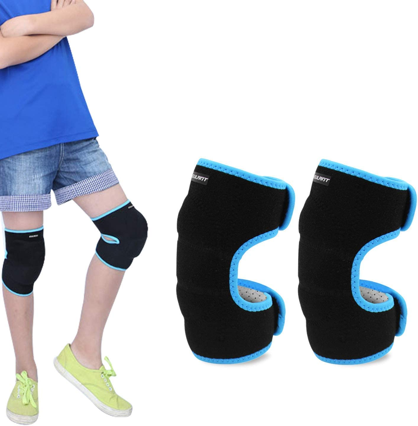 ONT Kids Knee Pads Adjustable Boys and Girls Knee Support Brace Protector with Thickened SBR Pad Guard Wraps for Downhill Cycling Dancing Volleyball Crawling