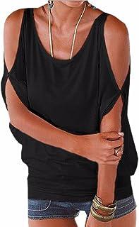 Verano Camisas De Hombro Frío Blusas Tops del Batwing Camisetas sin Mangas Camiseta Casual Camiseta para Mujer