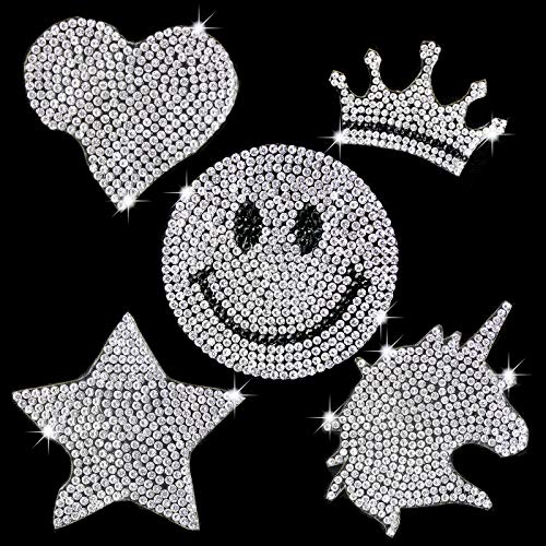 EKOI Iron on Patches for Mask Unicorn Smiley Face Emoji Star Princess Crown Love Heart Shaped Glitter Crystal Bling Rhinestone Applique Decal Heat Transfer Fabric Clothing Jacket Jeans Kid Girl Patch