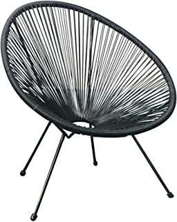 Indoor Outdoor Acapulco Woven Lounge Chair, All-Weather Patio Pear Shaped Weave Chair (Black, 2pc)