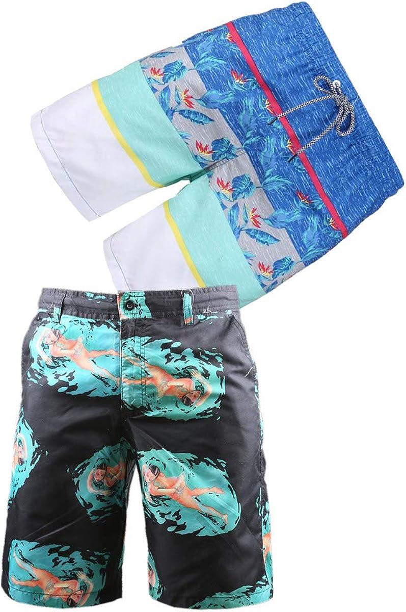 BG 2-Pcs Pack Men's Design Rash Guard Tropical Graphic Vintage Striped Texture Swim Suit