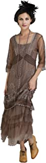 Nataya 2101 Women's Titanic Vintage Style Dress in Ash/Chocolate