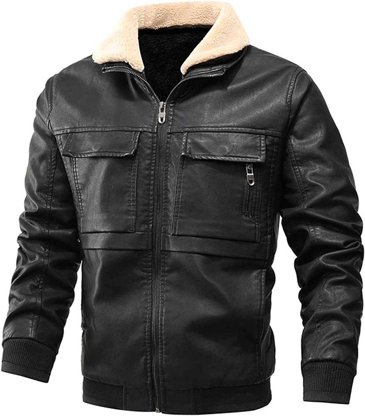 Men Faux Fur Collar Pu Leather Fleece Lined Quilted Moto Jacket Coat Outwear for Winter