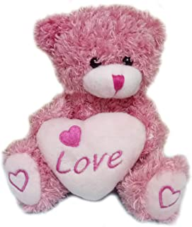 Plush Teddy Bear with Love Heart Stuffed Animal Toys Lover's Gifts Pink 5.5