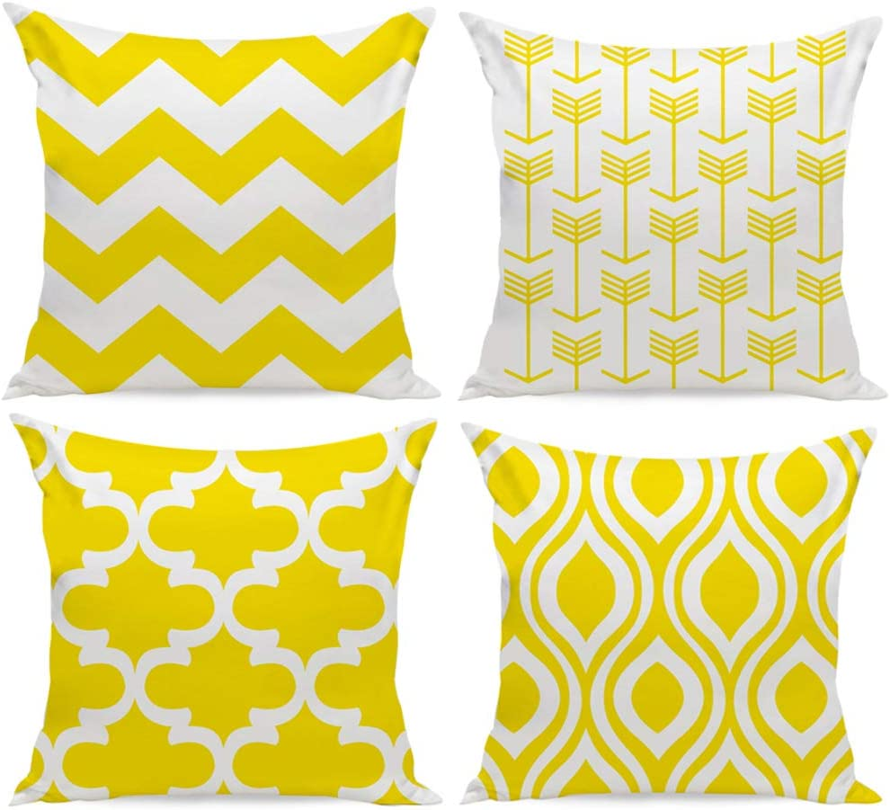 Set of 4 HuifengS Colorful Geometric Pillow Case Cotton Cushion Covers for Sofa Throw Pillows Home Decorative 18 x 18 Inch