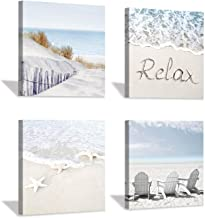 """Coastal Artwork Beach Wall Art: Starfish & Chairs on Sand Painting with Word Picture on Canvas for Living Room (12"""" x 12'' x 4 Panels)"""