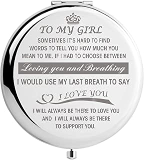 Daugher Gift from Mom Dad, Father Daughter Gifts, Mom Daughter Gifts, Graduation Gifts for Her Women, Engraved Pocket Makeup Mirror (Girl-Breath)