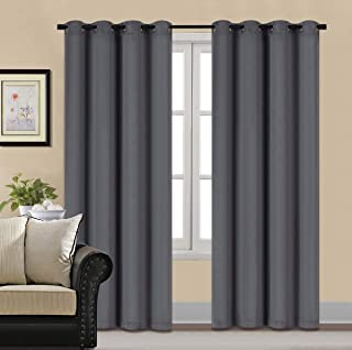 HCILY Blackout Velvet Curtains Grey 84 INCH Thermal Insulated for Bedroom 2 Panels (W52'' x L84'', Grey)