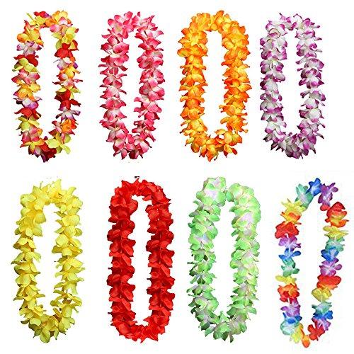 knowing 100CM Hawaii Tropische Garland Halskette,Bunte Hawaii Kränze für Geburtstag Hochzeit Party Strand Thema Party 8er(8 Farben)
