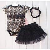 Strampler Overall [ 13-18 Monate ] für Neugeborene Kleinkinder Jungen Mädchen Sommer Baby Strampler Kleidung Set Gelb Leopard Babykleidung (Kleid + Haarband + Tutu Dress)