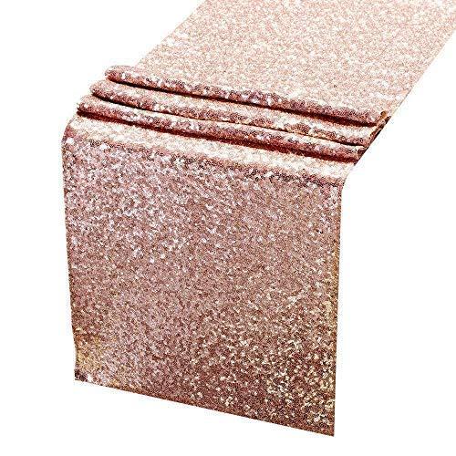 Erosion Pailletten Tischläufer Rose Gold - 12 X 108 Zoll Glitter Rose Gold Tischläufer-Rose Gold Party Supplies Stoff Dekorationen für Hochzeit Geburtstag Baby Shower