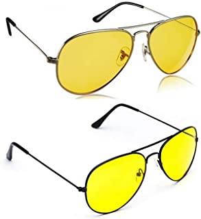 Dervin Night Vision Silver And Black Frame Men Women Aviator Sunglasses for Driving/Shooting - Perfect for Any Weather - Combo of 2 (Yellow Lens)