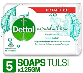 Dettol Co-created with moms Tulsi Bathing Soap, 125gm (Buy 4 Get 1 Free)