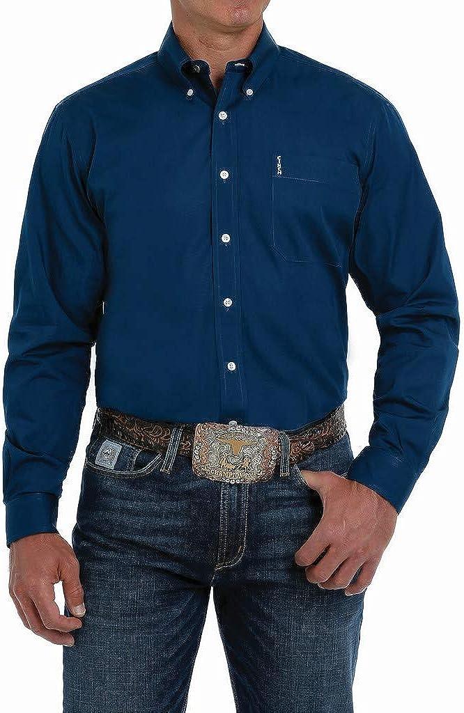 Cinch Men's Modern Fit Solid Navy Long Sleeve Button-Down Western Shirt