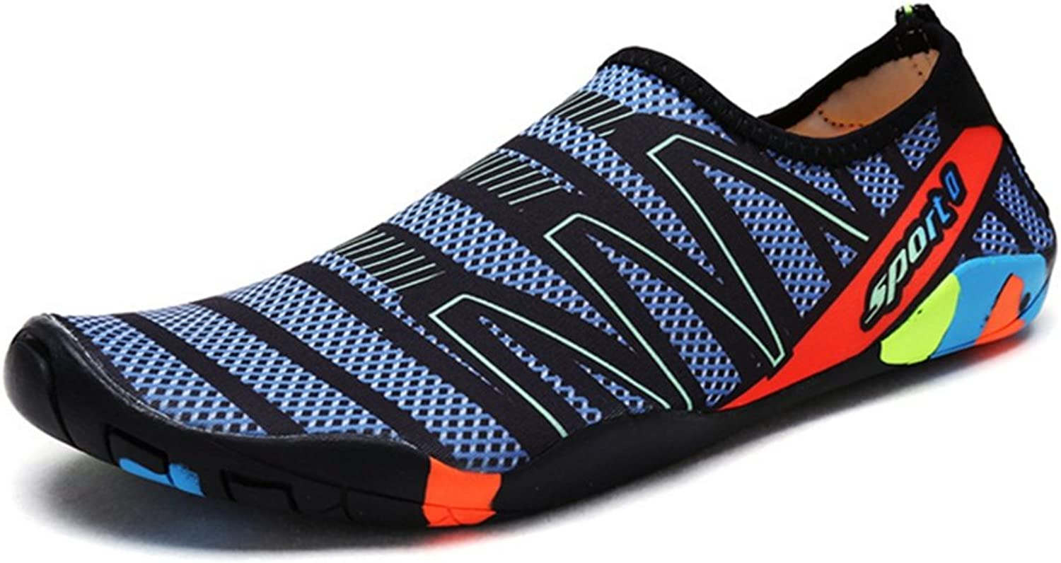 RENMEN Sports Beach shoes River Diving Antiskid Swimming shoes Treadmill shoes Barefoot Patchwork Breathable Soft shoes 35-46, Dark bluee