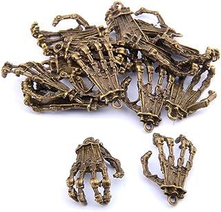 N\C 10 st 22 x 35 mm brons vintage legering skalle skelett hand berlock hängen för armband smyckestillverkning fynd gör-de...