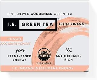 I.E. Green Tea Natural Peach Flavor Green Tea, Decaffeinated — USDA-Certified Organic Pure Liquid Tea Concentrate (Box of 8 Packets)