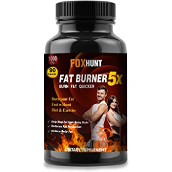 FOX HUNT ADVANCED Fat Burner 5X With Green Tea, L-Carnitine, CLA, Green Coffee Bean & Garcinia Cambogia Extract, Natural Weight Loss supplement for men and women, 1000 Mg - 90 Capsule