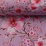 Swafing Softshell Fiete Zweige/Blüten rosa-grau 50x145 cm