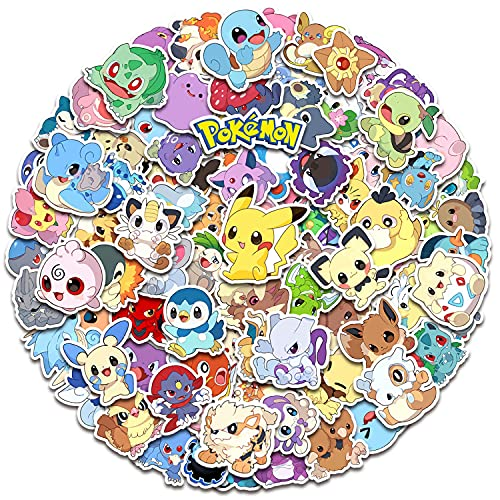 Pokemon Stickers 100 Pcs Comic Stickers Gift for Kids Teen Birthday Party Vinyl Waterproof Stickers for Water Bottle, Hydro Flasks, Cool Cartoon Stickers Pack