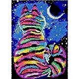 Juego de alfombras de ganchillo con diseño de gato y luna, color arcoíris para adultos y niños, para colgar en la pared, con ganchillo, para decoración del hogar, 86 x 58 cm