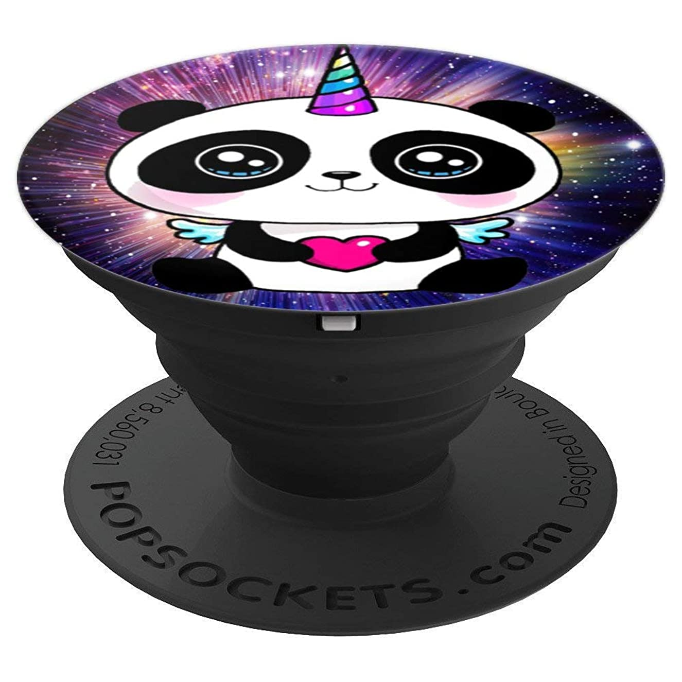Cute Smiling panda love funny pandacorn unicorn rainbow - PopSockets Grip and Stand for Phones and Tablets