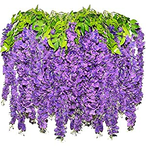 Retonia Artificial Wisteria Hanging Flowers for Decoration – 3.6FT 12 in a Pack Long Fake Plant Wisteria Garland Vines Wedding Decorations Real Touch Wisteria Silk Home Party Decor Flower