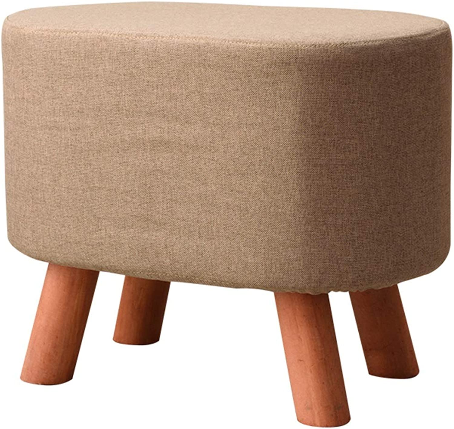 Modern Footstool Upholstered Fabric Seat and Wooden Legs, Small Oval shoes Stool for Bedroom, Livingroom, Brown (color   Brwon)