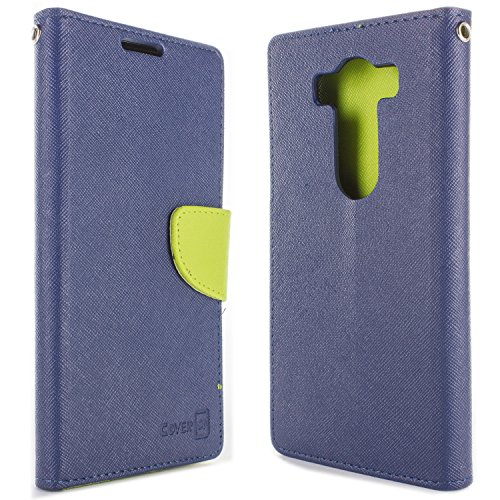 LG V10 Wallet Case, CoverON [Carryall Series] Flip Folio Credit Card Slot Pouch Cover Stand + Strap Case for LG V10 - Navy Green Neon