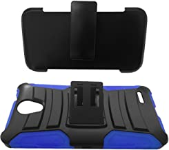 For ZTE Midnight Pro 4G LTE Dual Hybrid Belt Clip Holster Protective Case Phone Cover + Gift Stand (Belt Clip Black Blue)