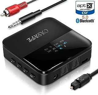 AMZKEY Bluetooth 5.0 トランスミッター レシーバー 2イン1 高音質 Bluetooth受信機 送信機 一台二役 2台同時接続 ワイヤレス オーディオ 光デジタル搭載 aptX HD aptX LL対応 高音質 低遅延 低ノイズ 3.5mmステレオミニプラグ対応 RCA AUX SPDIF接続 22H連続運転