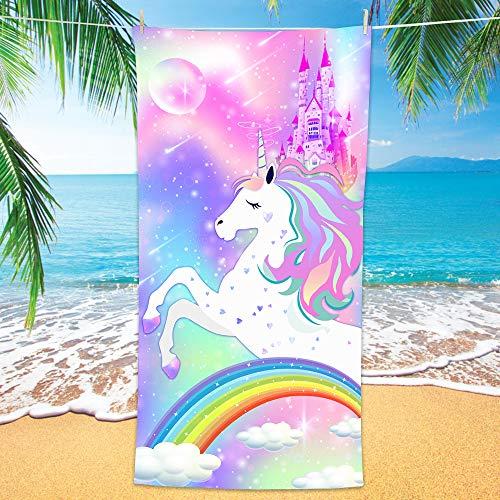 Bonsai Tree Unicorn Microfiber Beach Towel, Rainbow Kids Quick Dry Beach Blanket Oversized 30' x 60', Magic Castle Cute Sand Proof Bath Towels for Girls Travel