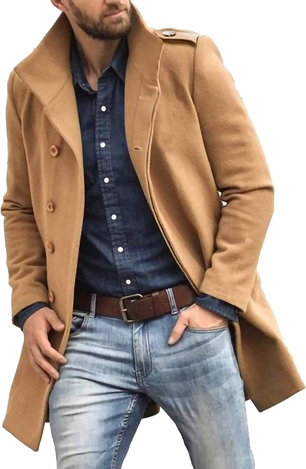 Mens Slim Fit Long Overcoats Classic Notched Collar Winter Single Breasted Warm Pea Coat Trench Coat