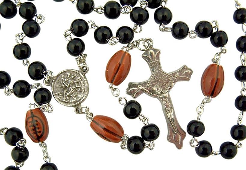 dtc My Sports Rosary Saint Christopher Acrylic Football Bead Rosary, 13 Inch