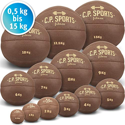 C.P.Sports K5 - Palla Medica Originale, in Pelle, 0,5 kg, 1 kg, 2 kg, 3 kg, 4 kg, 5 kg, 6 kg, 7 kg, 8 kg, 9 kg, 10 kg, 12,5 kg, 15 kg, Colore: Marrone, Marrone, 1,0-kg