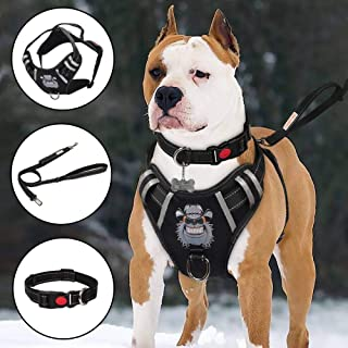TIANYAO Dog Harness No-Pull Dog Vest Set Reflective Adjustable Oxford Material Pet Harness for Large Dogs with Leash and Collar