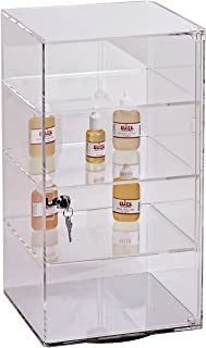 SSWBasics 3-Shelf Acrylic Rotating Tower Display Case Box (Comes with Lock & Key)