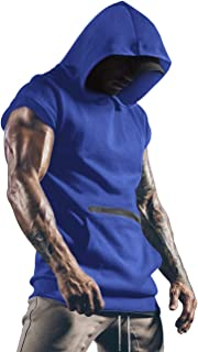 Lomon Men's Gym Tank Tops Sports T Shirt Thin Fitness Muscle Vest Sleeveless Hoodies with Pockets