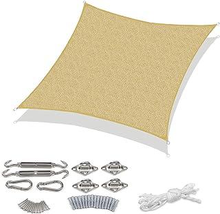 Sekey Voile d'ombrage carré en polyéthylène Haute densité perméable à l'air Résistant à la déchirure Protection UV pour ex...
